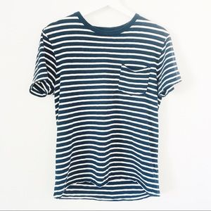 J. Crew Navy/White Cotton Pocket Tee Sz S